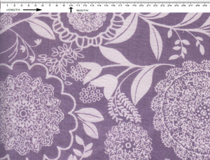 GANESHA FLOWERS PRINT {WHITE-DARK PURPLE}  (Cambric)