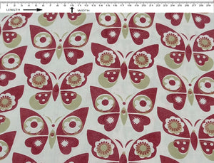 BUTTERFLY PRINT { Sun White - Madder Red - Taupe Grey }  (40's Poplin)