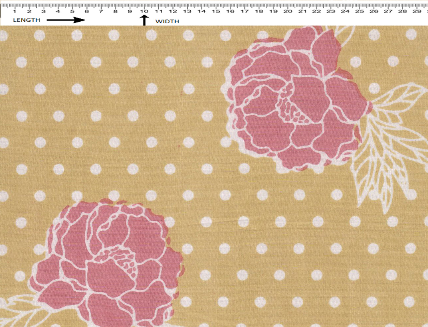MARIGOLD PRINT {SUN WHITE-PALE CELERY-CHERRY PINK}  (Cambric)
