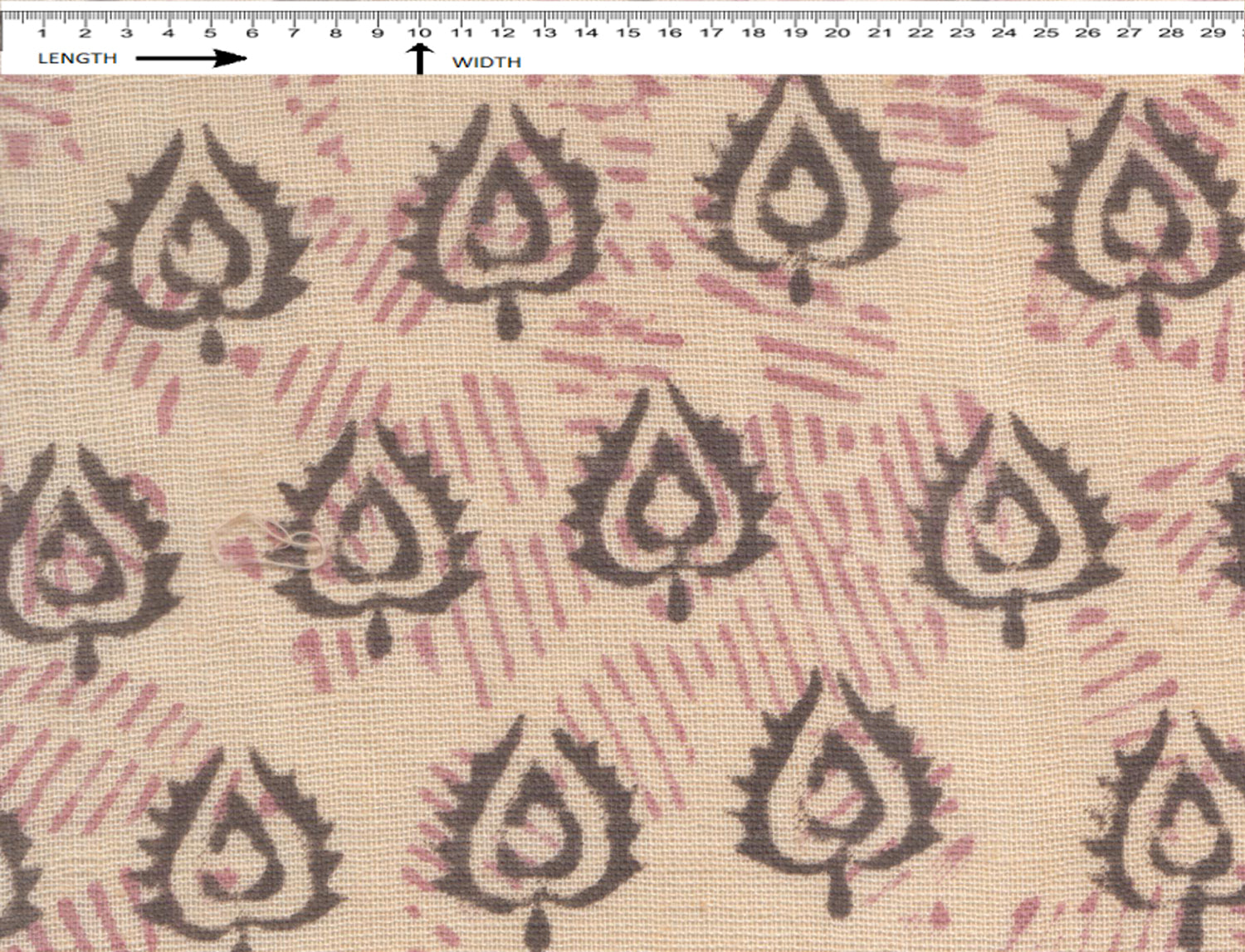 BUD BLOCK PRINT { RUST CREAM-CHERRY PINK-BLACK } (Recycle)