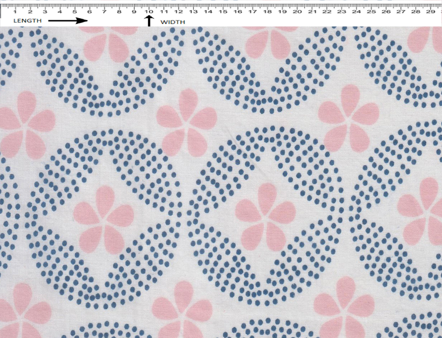 UNITY DOT FLOWER PRINT {WHITE-WOAD BLUE-ASH PINK}  (Cambric)