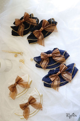 Dark Golden Bow Chiffon Cuff O055