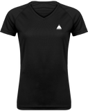 Tee Shirt Trail Running Femme Col V Black / XS pour le Trail et le Running par Tunetoo