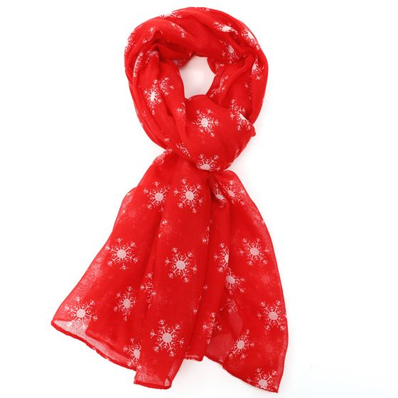 Red Snowflake Design Scarf