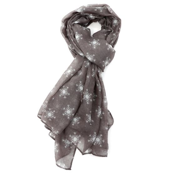 Light Grey Snowflake Design Scarf