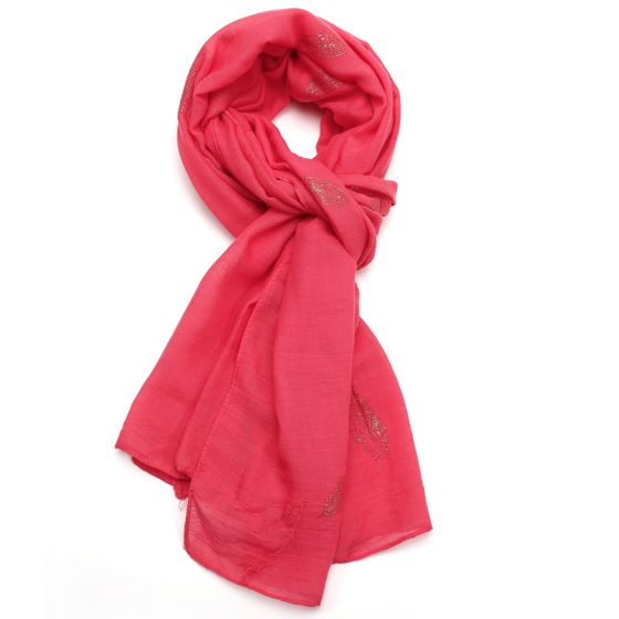 Coral Shinning feathers Design Scarf