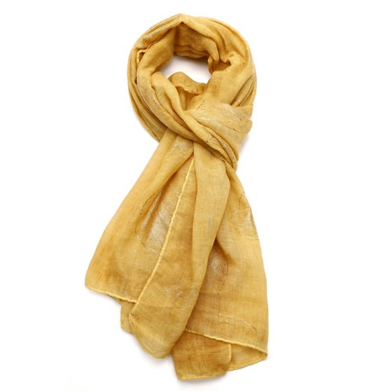 Mustard Gold Leaves Design Scarf