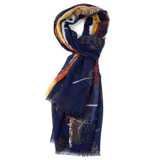 Navy Ash Tree Design Scarf
