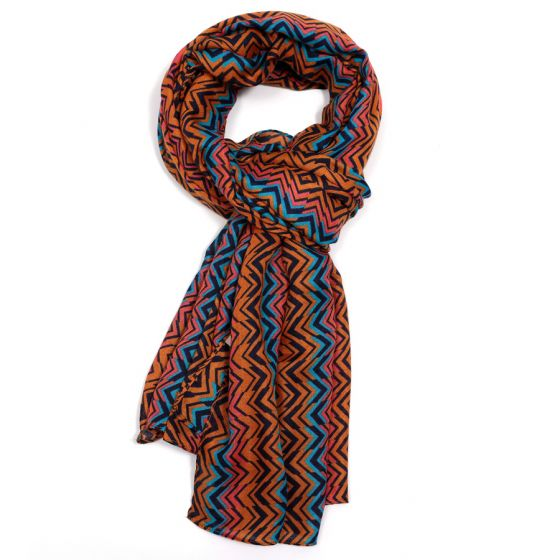 Rust Blue Wave Design Scarf