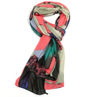 Coral Painted Triangles Design Scarf