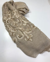 Beige TieDye with rose design scarf