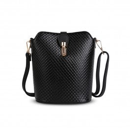 Over The Shoulder Black Ripple Hand Bag