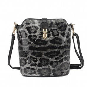 Over The Shoulder Black Leopard Print Hand Bag