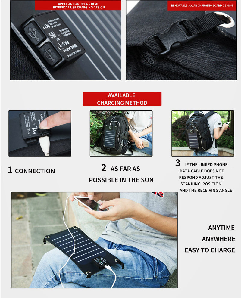 BAIJIAWEI Solar Power Charger Anti-theft Waterproof 15 Inch Laptop Backpack