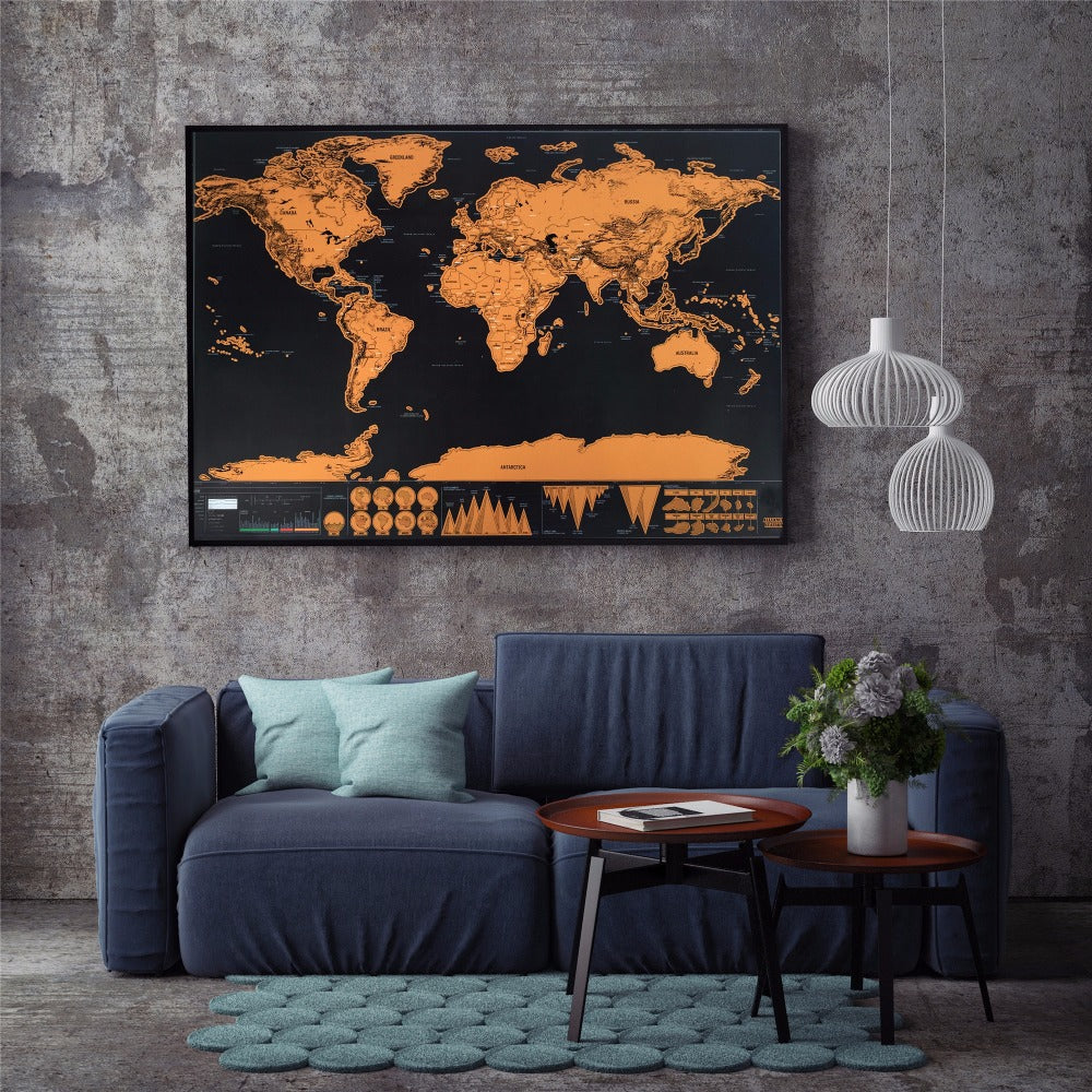 Deluxe Traveller Scratch Off World Map 33x24 inch