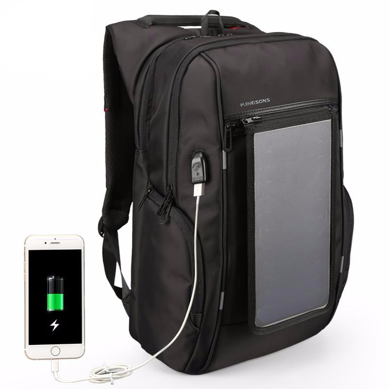 Kingsons Solar Panel Waterproof 15.6 inch Laptop Backpacks