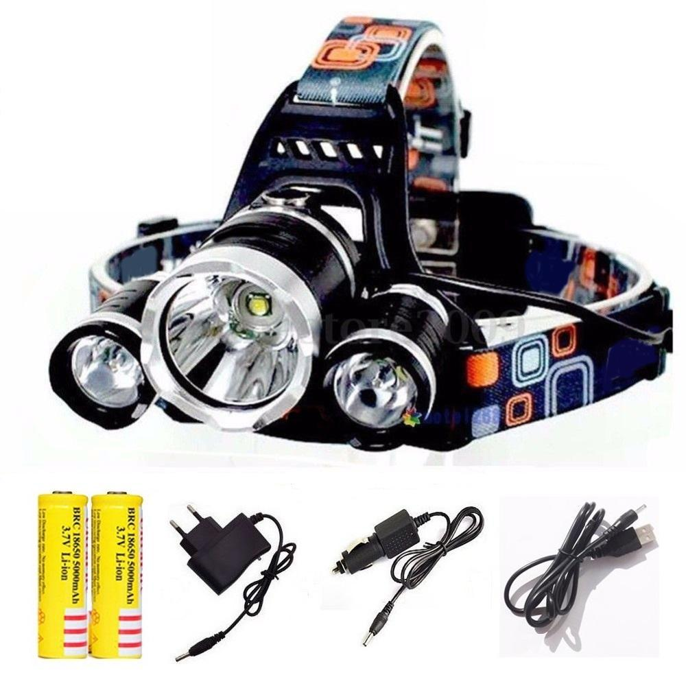 10000LM Headlight LED rechargeable 1T6+2R5 with charger and batteries