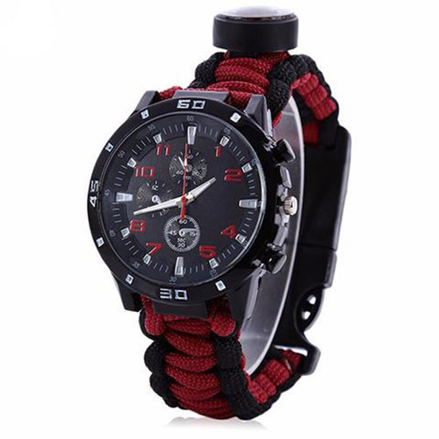 Emak Tactical Outdoor Survival Watch with Paracord Fire Starter