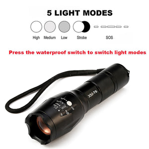 Torcia Tactical Flashlight 8000 Lumens CREE XM-L2 Zoomable 5 Modes