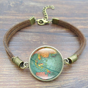 2018 World Globe Map Leather Bracelet