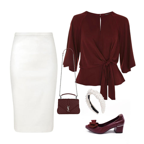 Styling red burgundy heels Toufie