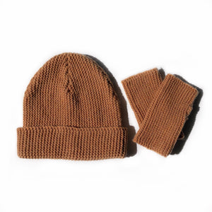 fini. beanie & fingerless glove set - terracotta