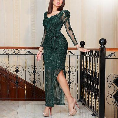 V Neck Long Sleeve Slim Beaded with The belt Evening Gowns 2021 New Fashion woman evening Dresses