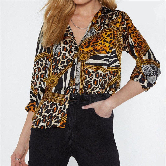 Women Tops and Blouses Leopard Chain Print Vintage Chiffon