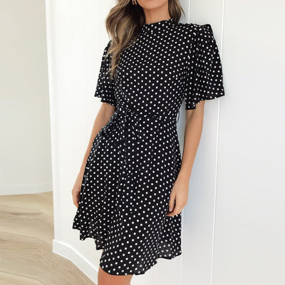 Boho Polka Dot Print Summer Beach Dress Women Casual Short Sleeve O-Neck