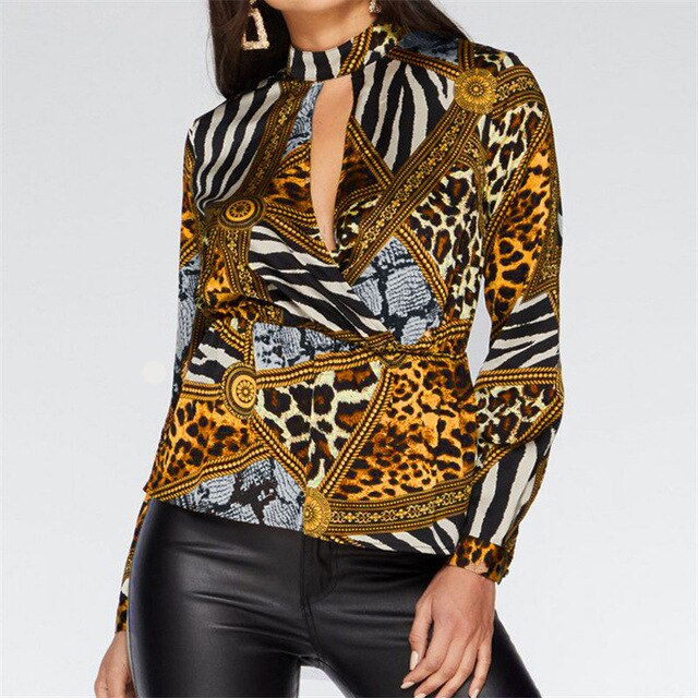 Animal Print Blouse Shirt Women Casual Leopard Vintage Blouse