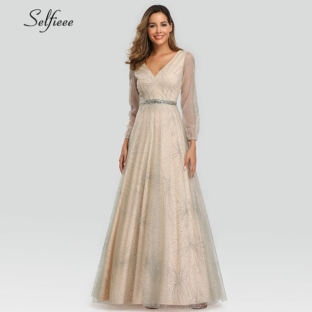 Elegant Sequined Maxi Dress For Women A-Line V-Neck Tulle