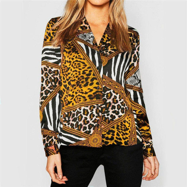 2020 Blouse Women Vintage Animal Print Leopard Blouses