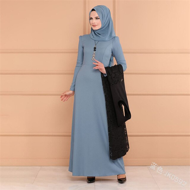 WEPBEL Muslim Women Dress Abaya Full Sleeve Lace Slim New Casual Fashion