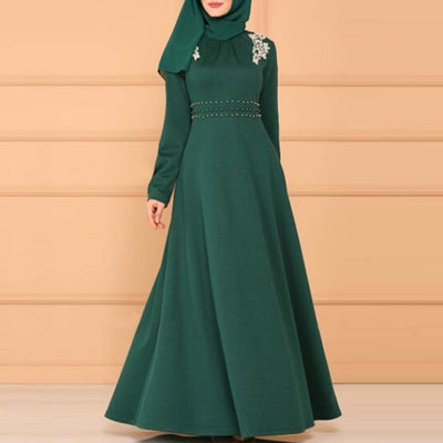 TOPMELON Chiffon Muslim Dress Womens Open Abaya Long Trumpet Sleev