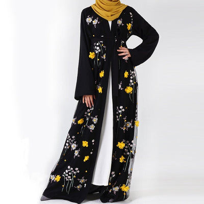 Floral Abaya Turkish Kimono Dubai Muslim Hijab Dress Abayas For Women