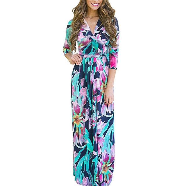 Women Summer Floral Print Maxi Dress Boho Style Long Beach Dress