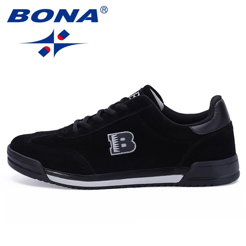 BONA New Classics Style Men Casual Shoes Lace Up Suede Leather Men Shoes