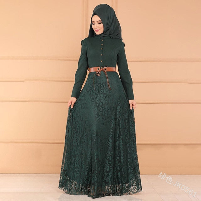 WEPBEL Muslim Abaya Dress Floral Women Lace Flower Full Sleeve