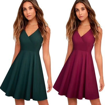 Women Brief Solid Color Elegant Sleeveless Party Dress Sexy V Neck