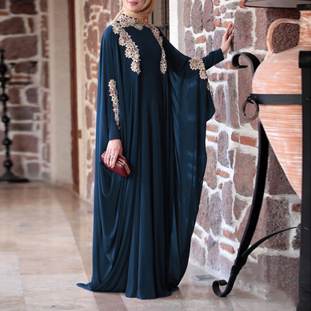 WEPBEL Women Muslim Dress Solid Lace Plus Size Loose Batwing Sleeve Abaya