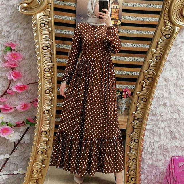 WEPBEL Arab Dubai Plus Size Long Sleeve Women Muslim Wave Point Dresses