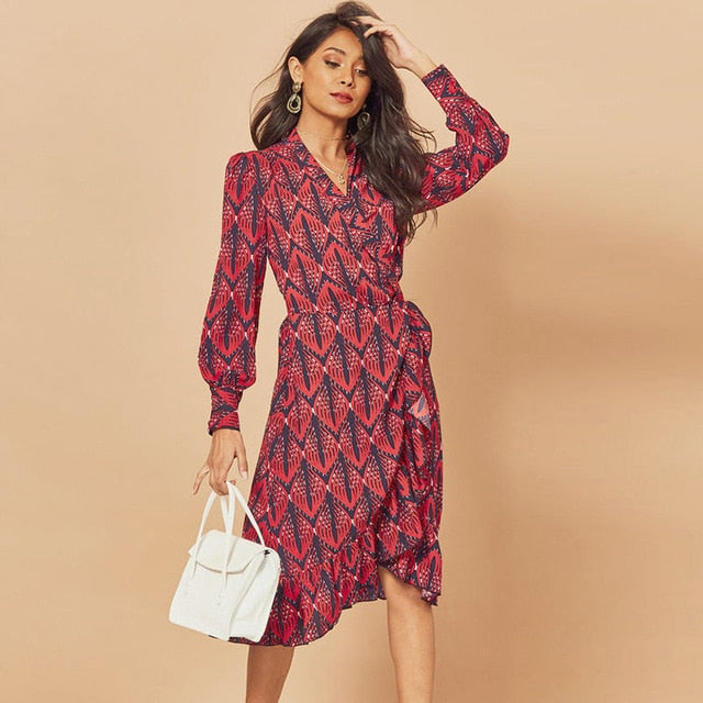 HiloRill 2020 Women Print Ruffle Dress Spring Autumn Lantern Sleeve