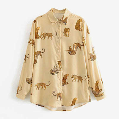 HiloRill Leopard Print Blouse Women Long Sleeve Office Fashion