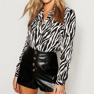 HiloRill Vintage Zebra Animal Print Blouse Women Tops and Blouses