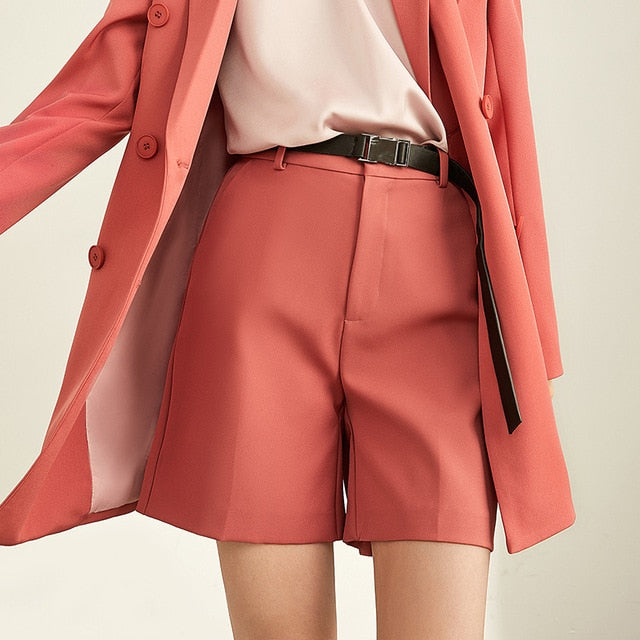 Spring Minimal Western Style Outerwear Pants Shorts Professional Suit