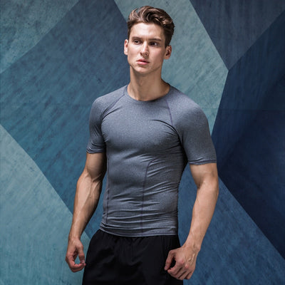 Sports Tights Men's Coaches Fitness Tee Shirts Short Sleeve
