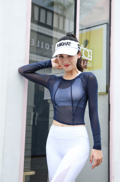 Summer Women Hollow Out Mesh Long Sleeve Sport Top For Fitness