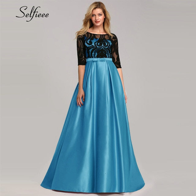 Elegant Dresses A-Line O-Neck Empire Bow Lace Contrast Color