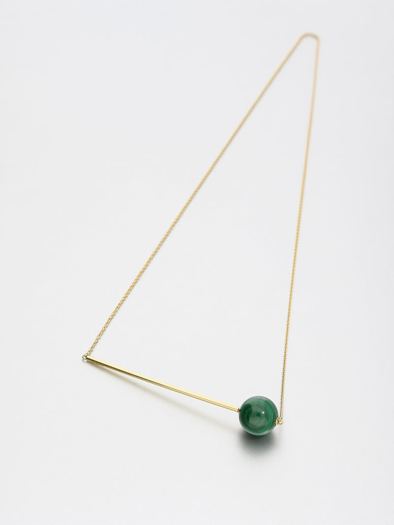 Abacus Malachite Necklace, Yellow gold with Malachite 12 mm