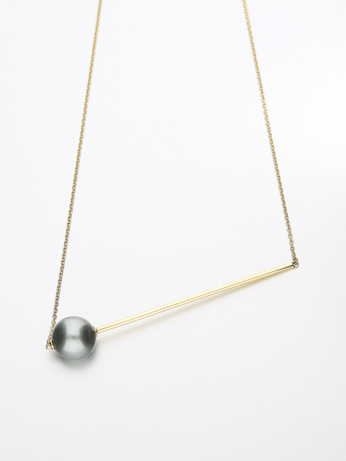Abacus Pearl Necklace, Yellow gold with dark Tahitian pearl 11mm